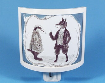 Fantastic Mr Fox Night Light vintage kids book cute nursery nightlight Literary Gifts Under 20 Roald Dahl Chaffin Badger book themed decor