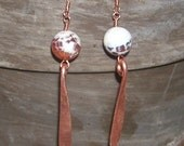 Hammered Copper, Dragons Vein Stone, Wire Wrapped Dangle Earrings