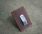 Hand stitched burgandy leather money clip wallet