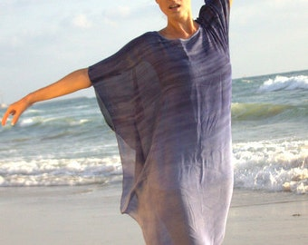 Romantic beach chiffon blue tunic