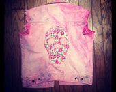 Pink Tie Dye Denim Studded Vest With Floral Shabby Chic Skull