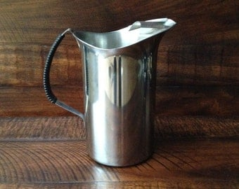 Vintage Mid Century Stainless Steel Water Pitcher with ice guard