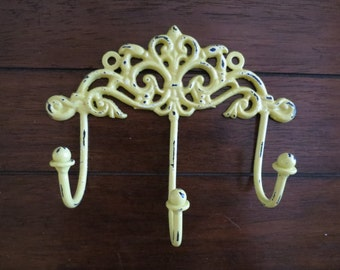 Shabby Chic Wall Hook / Lemon Yellow or Pick Color / Key Hanger / Jewelry Scarf Organizer / Bathroom Towel Hook / French Cottage