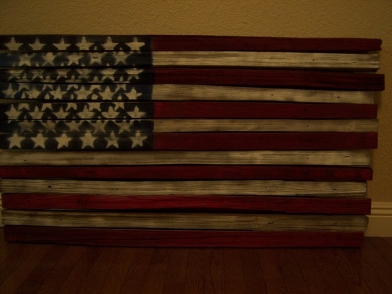 Rustic, vintage-look, handmade reclaimed wood American flag wall-hanging