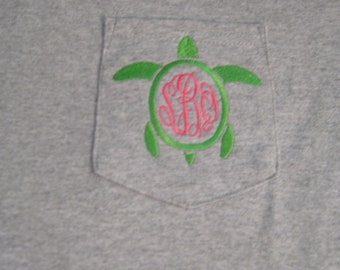 Short Sleeve monogrammed turtle pocket tee