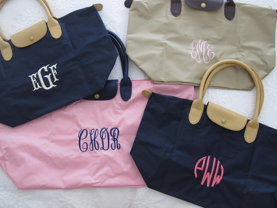 Monogrammed foldable totes