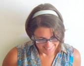 beige light blue headband