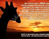 Safari Jungle Wild Animal Birthday Party Custom Personalized Printable DIY Invitation