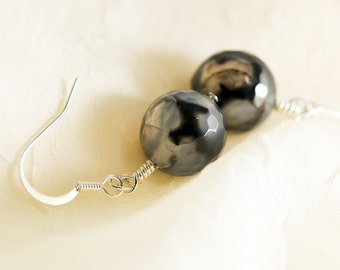 Black, Grey and Lavender faceted Fire Agate Earrings - Semi-precious stones