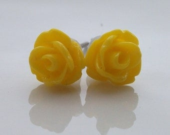 Tiny Yellow Rose Earrings