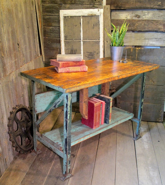 Vintage Industrial Birch Top Workbench Table Primitive Shabby Chic