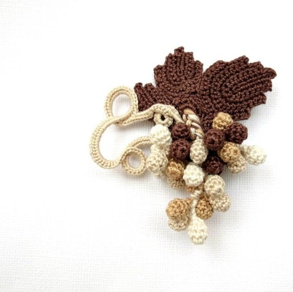 Hand Crochet Brooch Grapes, Jewelry, A Bunch Of Grapes, Cappuccino, Brown, Ivory, Berries, Cotton Yarn