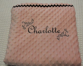 Beautiful, Soft, Minky and Satin French Inspired Embroidered Personalized Baby Blanket
