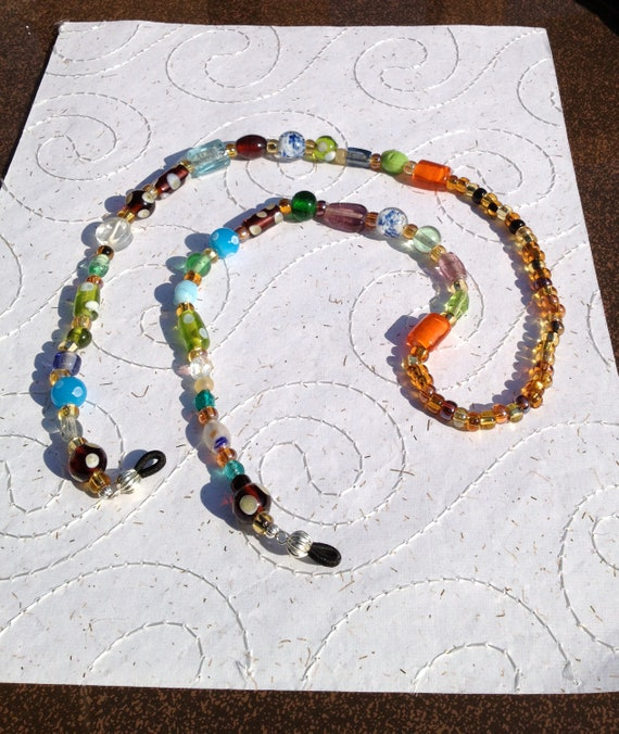Eyeglass holder lanyard necklace Funky multicolored