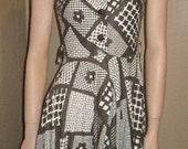 vtg brown hippie mod sundress floral cool buttons dress 28 waist End OF Summer Sale