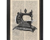 Antique Sew Machine - Art Print on Vintage Dictionary Page 1930s