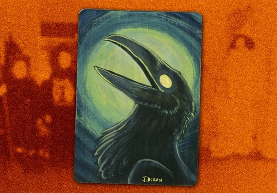Caw to the Moon, Vintage Halloween Inspired Mini Crow / Raven Painting
