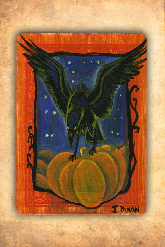 Harvest Crow, Vintage Halloween Inspired Mini Crow / Raven Painting
