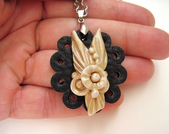 Black Leather Pendant Leather Jewelry Flower Porcelain