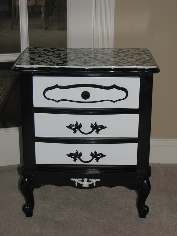 Damask Black And White Night Stand