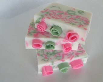 Fresh Cut Roses Soap - Pink and Green Soap
