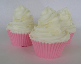 Love Spell - Cupcake soap - Pink and White Glycerin Handmade Soap