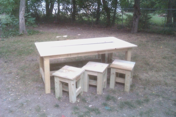 Items similar to outdoor dining table set with built in  : il570xN3598217437323 from www.etsy.com size 570 x 380 jpeg 55kB