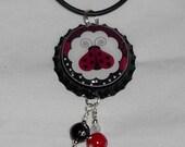 Ladybug Black White Red Bottle Cap Necklace with Bling Beads
