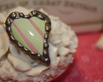 Soldered China Plate Heart Pin, Brooch with silver tone, Green with Pink Stripes