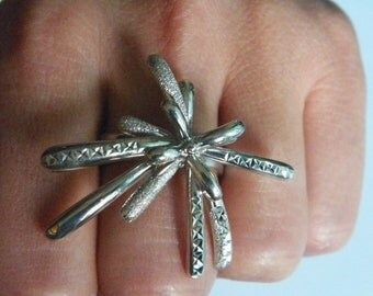 925 Sterling Silver Multiple Rays Abstract Ring Laser Cut Diamond Cut,Size US 7