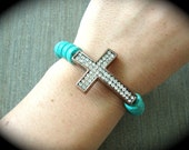 Antiqued Copper Swarovski Sideways Cross & Turquoise Stretchy Bracelet