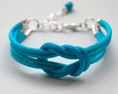 Sailor's knot bracelet, satin cord, available in turquoise, lime green, fuschia pink, red, black, white