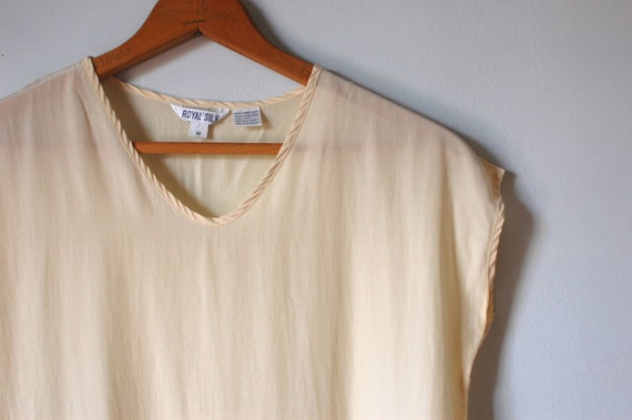 80s vintage cream silk shirt / simple shell