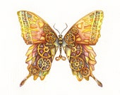 Steampunk Butterfly - Original Painting 12x9