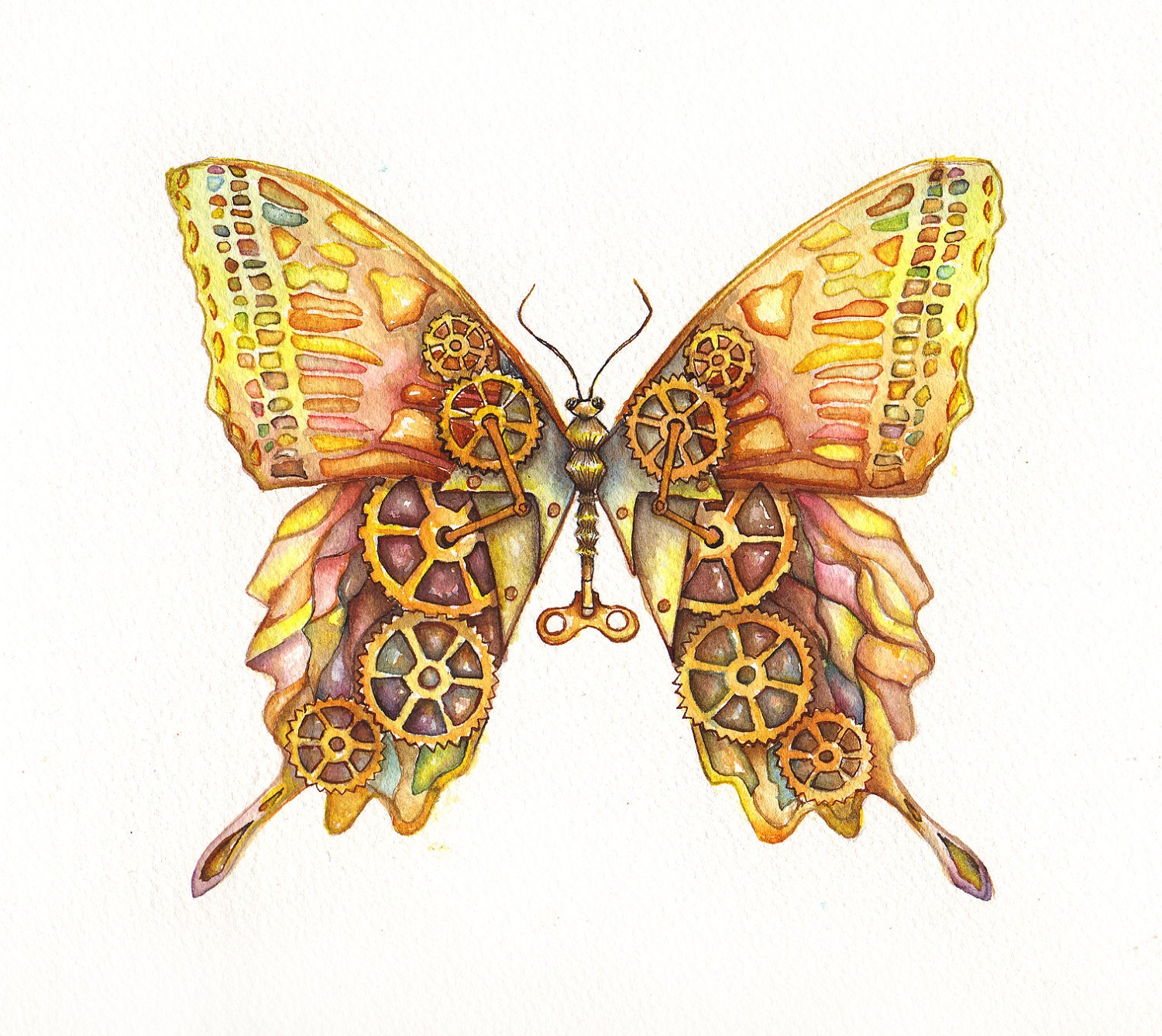 Steampunk Butterfly Original Painting 12x9