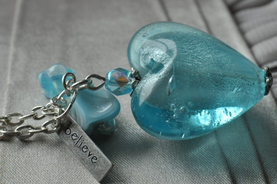 Aqua Foil Glass Heart Necklace with Believe Charm & Flower Beads UK Seller