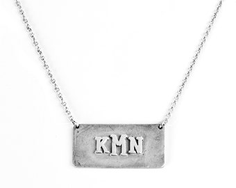 3-initial, monogram plaque necklace. Initial Necklace