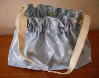 Blue Spotted oilcloth shoulder bag