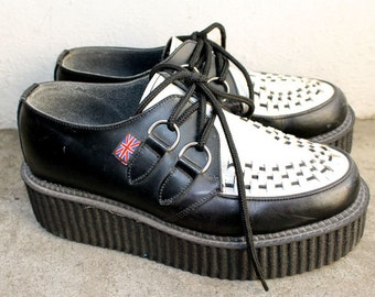 VINTAGE 90s Original T.U.K Classic Black and White Leather Mondo Creepers. Rare. Rockabilly Ska Punk Rock Style. Womens AUS 7