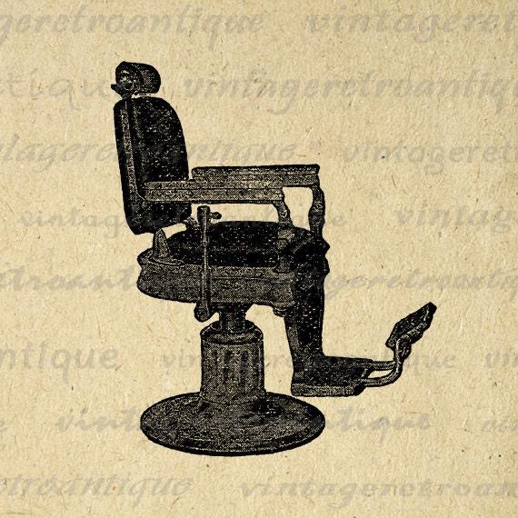 Barbers chair printable download image illustration vintage clip art