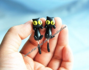 New -Design 1 Pair Of Cute Lovey Black Cat Dangling Earrings, Chomper Earring, Witch jewelry, Unique Earrings, Cute Earrings