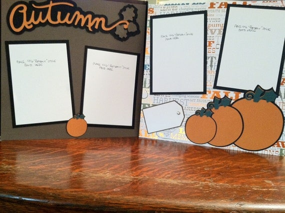 Autumn and Pumpkins Pre Made 12 x 12 Double Page Layout