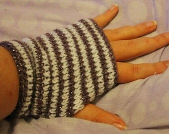Handmade striped fingerless gloves / hand warmers