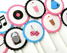 12 Fabulous 50s Cupcake Toppers, Over the Hill Birthday, 50s Party, Birthday Picks, Record Player, Milkshake, 50s Birthday Party, Sock Hop