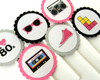 12 Pink 80s Cupcake Toppers, 80s Birthday, I love the 80s, Cassette Tape, 80s Party, Stereo Toppers, Neon Party, 80s Theme, Baby Shower