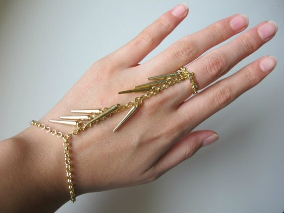 Gold Spiked Chain Slave Bracelet
