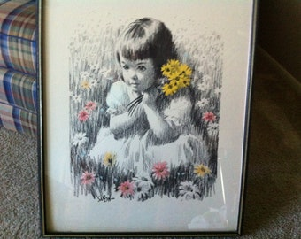 Vintage Large Framed Print of Girl With Yellow Daisies By Saron - Arthur Kaplan Co NYC
