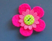 magenta pink and spotted lime felt pin - badge