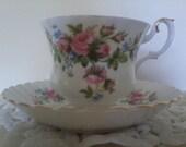 """1950's Royal Albert  """"Moss Rose"""" Tea Cup and Saucer, Mint"""