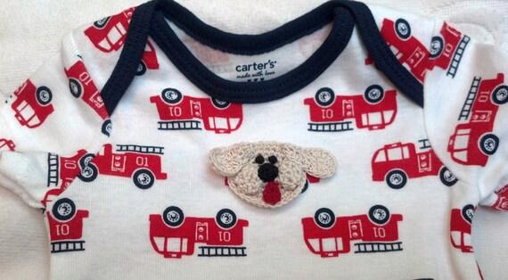 Boys Baby Infant 3 Piece Set ( Bodysuit, Shorts, TShirt)  - Handmade Puppy Dog Face - Firetruck Theme - Size 3 months